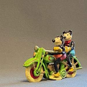 Vintage American Mickey and Minnie Mouse on a Motorcycle