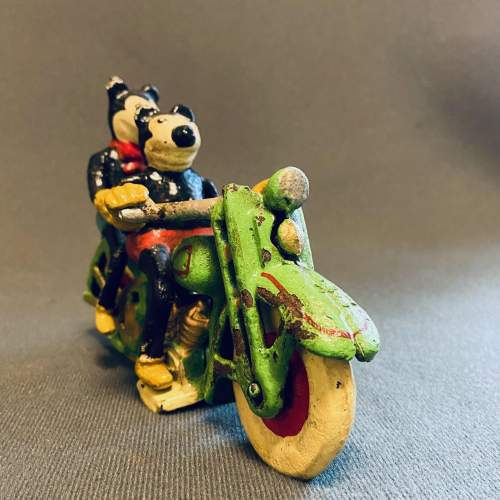 Vintage American Mickey and Minnie Mouse on a Motorcycle image-4