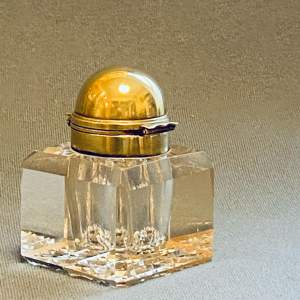 Victorian Betjemanns Patent Cut Glass and Brass Inkwell
