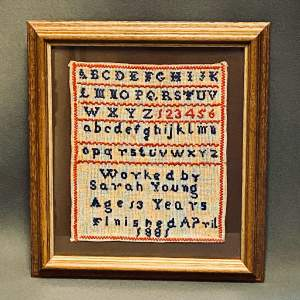 Framed Victorian Sampler Worked By Sarah Young Age 13 in 1881