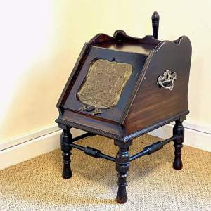 19th Century Coal Scuttle on Stand