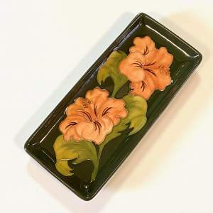 Moorcroft Pottery Coral Hibiscus Pen Tray