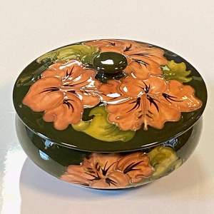 Moorcroft Pottery Coral Hibiscus Circular Bowl with Cover