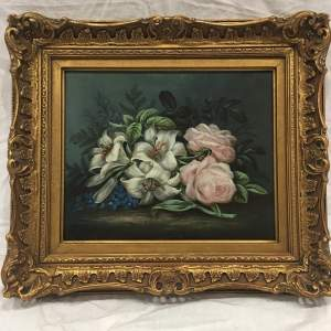 Attributed to Edwin Steele Still Life Oil Painting - Framed Signed