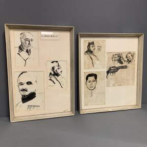 Pair of Framed Pen and Ink Illustrations