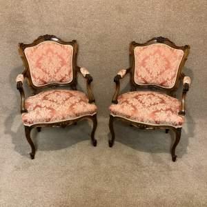 Pair of Edwardian Walnut Salon Elbow Chairs