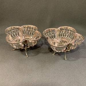 Pair of early 20th Century Quatrefoil Silver Baskets