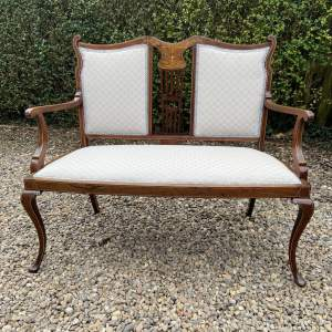 Edwardian Inlaid Mahogany Two Seater Salon Settee
