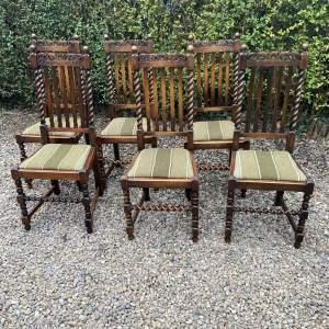 Set Of Six Oak Barleytwist Dining Chairs