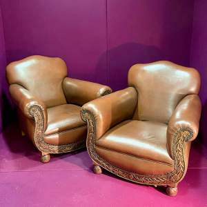 Pair of Early 20th Century Leather Club Armchairs