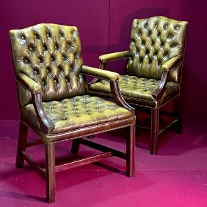 20th Century Pair of George III Style Leather Armchairs