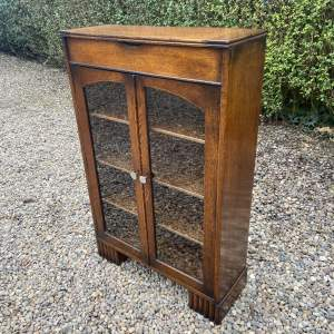 1930s Solid Oak Bookcase with a Hinged Top