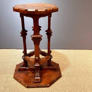 Victorian Oak Gothic Revival Octagonal Table