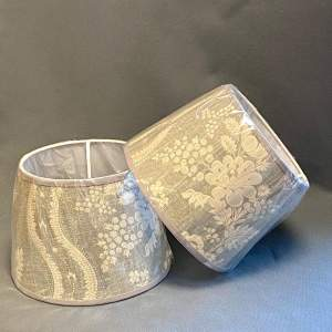 Pair of 10in Linwood Grey Floral Linen Drum Shades