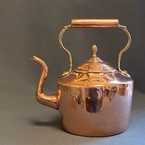 Victorian Copper Kettle with Hinged Lid