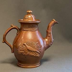 19th Century Derbyshire Stoneware Salt Glazed Coffee Pot