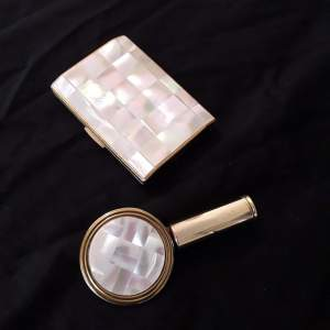 Mid Century Mother of Pearl Cigarette Case and Lipstick Mirror