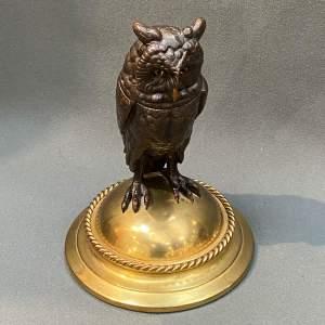 19th Century Bronze Owl Inkwell