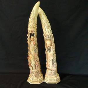 Ornate Plaster Tusks With Oriental Figures and Animals