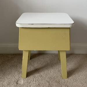 Retro Painted Wooden Stool with Formica Top