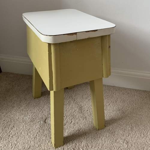 Retro Painted Wooden Stool with Formica Top image-2