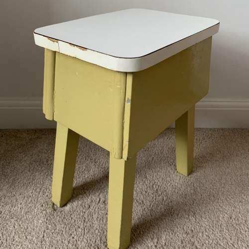 Retro Painted Wooden Stool with Formica Top image-3