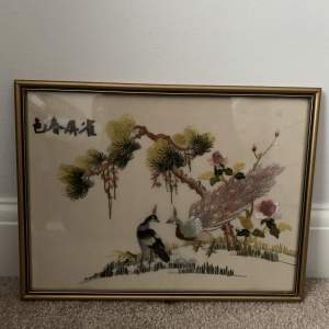 Framed Oriental Embroidery on Silk