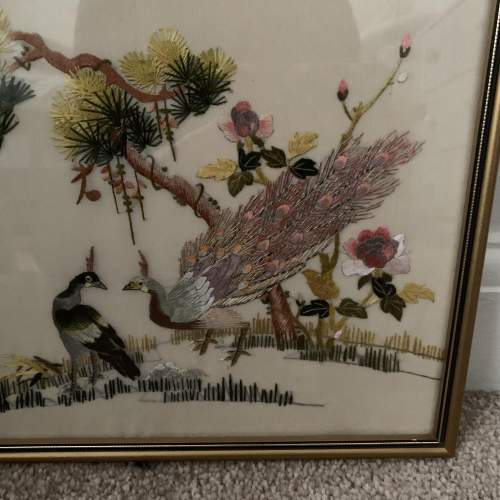 Framed Oriental Embroidery on Silk image-2