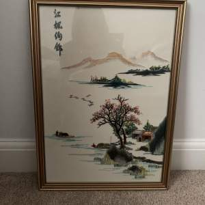 Oriental Embroidery on Silk - Framed
