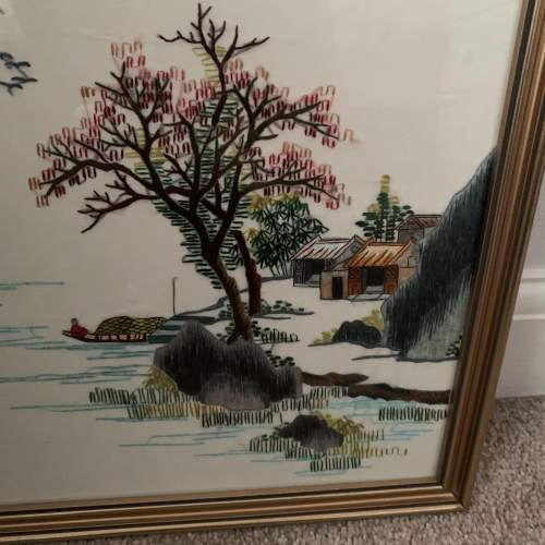 Oriental Embroidery on Silk - Framed image-2