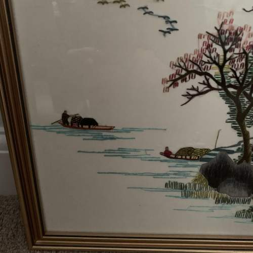 Oriental Embroidery on Silk - Framed image-3