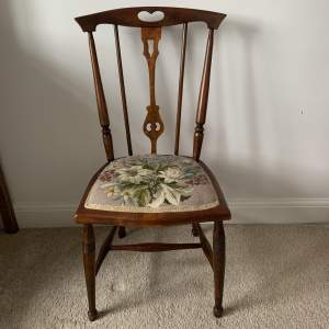 Rosewood Embroidered Seat Side Chair
