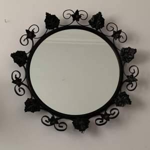 Round Metal Black Ivy Framed Mirror