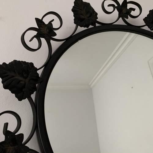 Round Metal Black Ivy Framed Mirror image-3