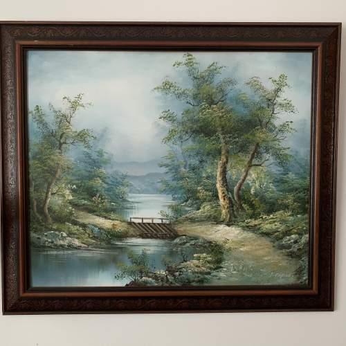 Wood Framed Oil on Canvas Landscape Signed I Cafieri image-1