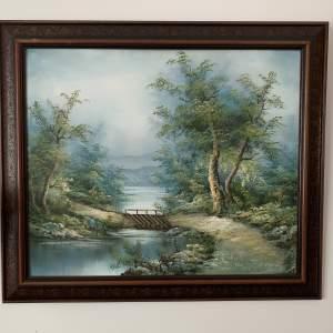 Wood Framed Oil on Canvas Landscape Signed I Cafieri