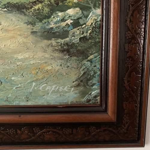 Wood Framed Oil on Canvas Landscape Signed I Cafieri image-2
