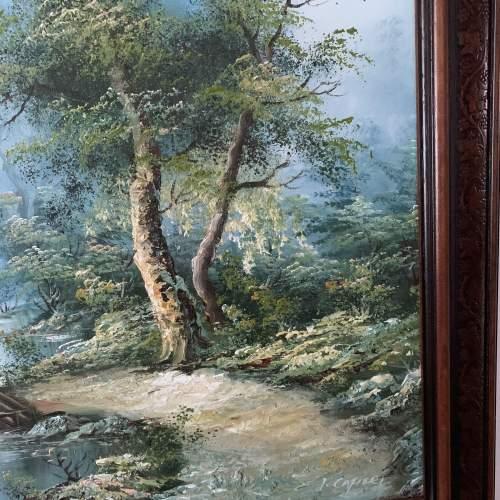 Wood Framed Oil on Canvas Landscape Signed I Cafieri image-3