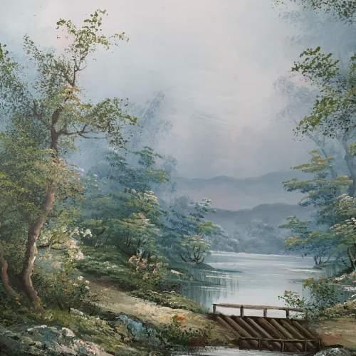 Wood Framed Oil on Canvas Landscape Signed I Cafieri image-4