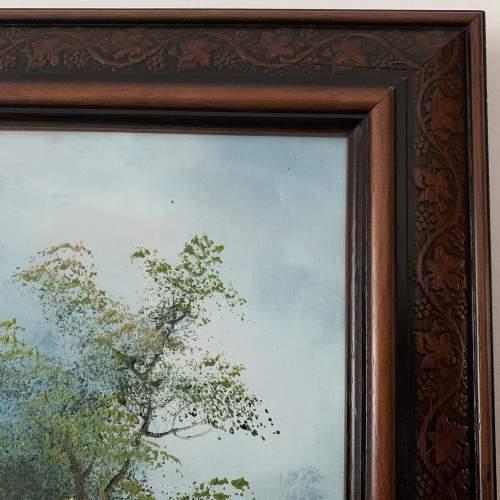 Wood Framed Oil on Canvas Landscape Signed I Cafieri image-5