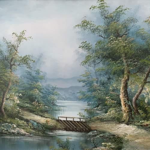Wood Framed Oil on Canvas Landscape Signed I Cafieri image-6