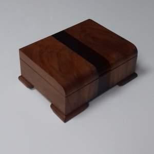Art Deco Walnut and Rosewood cross banded Cigarette Trinket Box