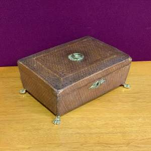 Early 20th Century Brown Leather Sewing Box