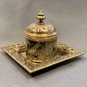 Victorian Brass Inkwell