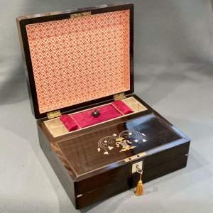 Victorian Coromandel Writing Slide or Sewing Box