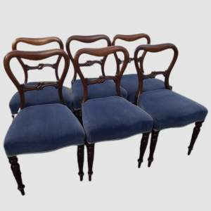 Fine Set of 6 Victorian Rosewood Balloon Back Dining Chairs