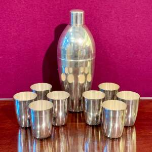 French Art Deco Silver Plate Cocktail Shaker with Eight Cups