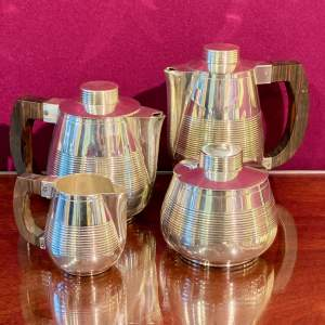 French 1930s Art Deco Silver Plated Tea and Coffee Service