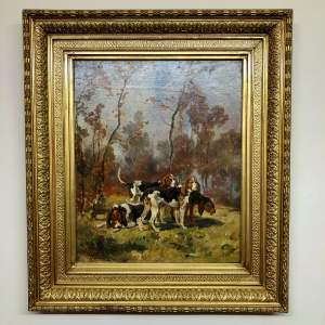 19th Century Oil On Canvas Hounds In Landscape
