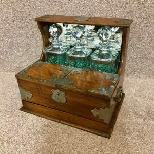 Late 19th Century Oak 3 Bottle Games Tantalus